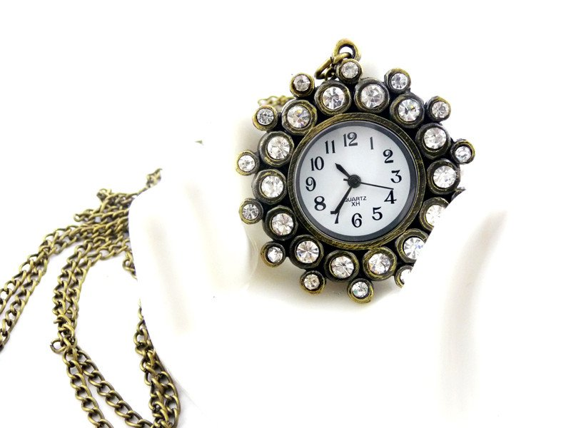 swarovski crystals Pocket watch Necklace BZ9