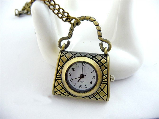 Small bag pocket watch necklace