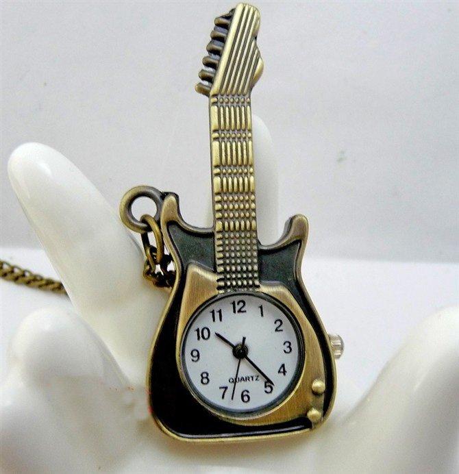 Violin pocket watch necklace