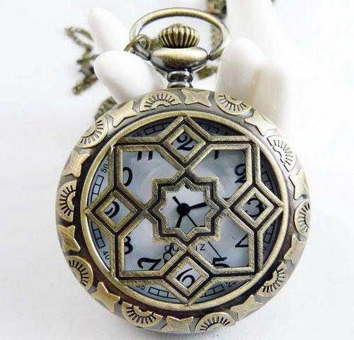 Stars pocket watch necklace