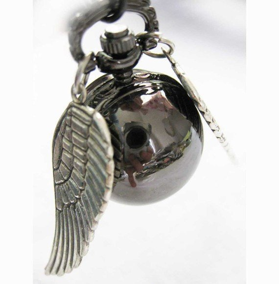Enchanted Black Silver Snitch WATCH necklace with silver Wings from Harry Potter BZ38