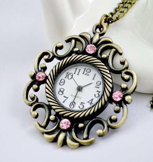 Retro pocket watch necklace grilles
