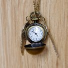 Enchanted Golden Snitch Ball Locket WATCH with silver Wings from Harry Potter BZ39