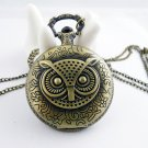 Retro pocket watch necklace owl