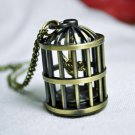 Birdcage pocket watch necklace