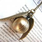 Enchanted Golden Snitch Ball Locket WATCH with silver Wings from Harry Potter