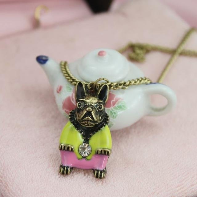 Cute Shar Pei necklace, Yellow