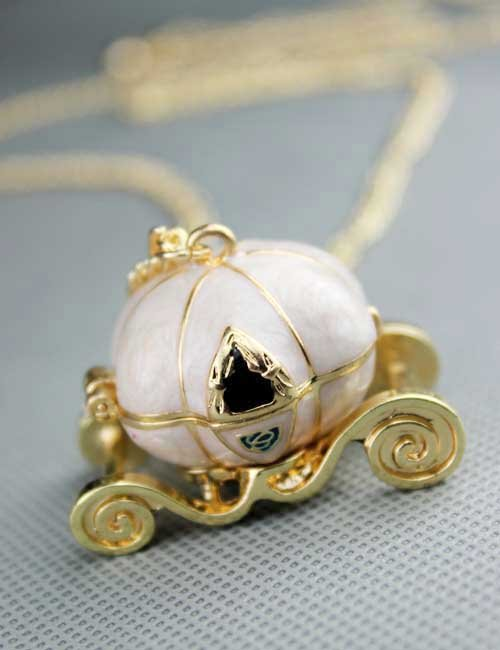 Cinderella's pumpkin car necklace