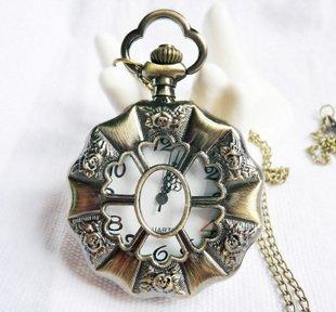 Six Rose pocket watch necklace