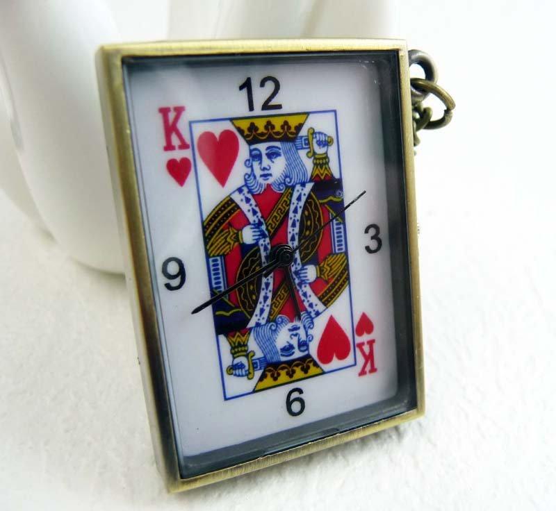 Poker pocket watch necklace