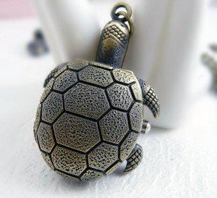 Retro Sea turtle pocket watch necklace