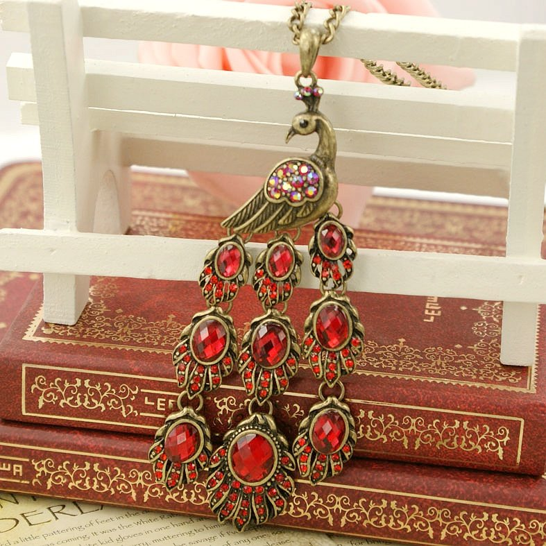 Retro necklace peacock BZ183