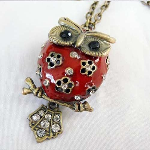 Fat belly owl necklace, Red