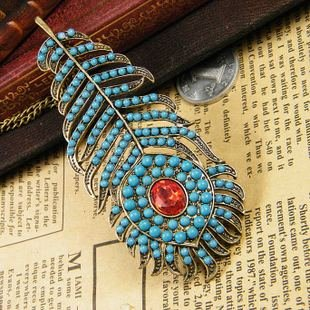 Beautiful peacock feather necklace