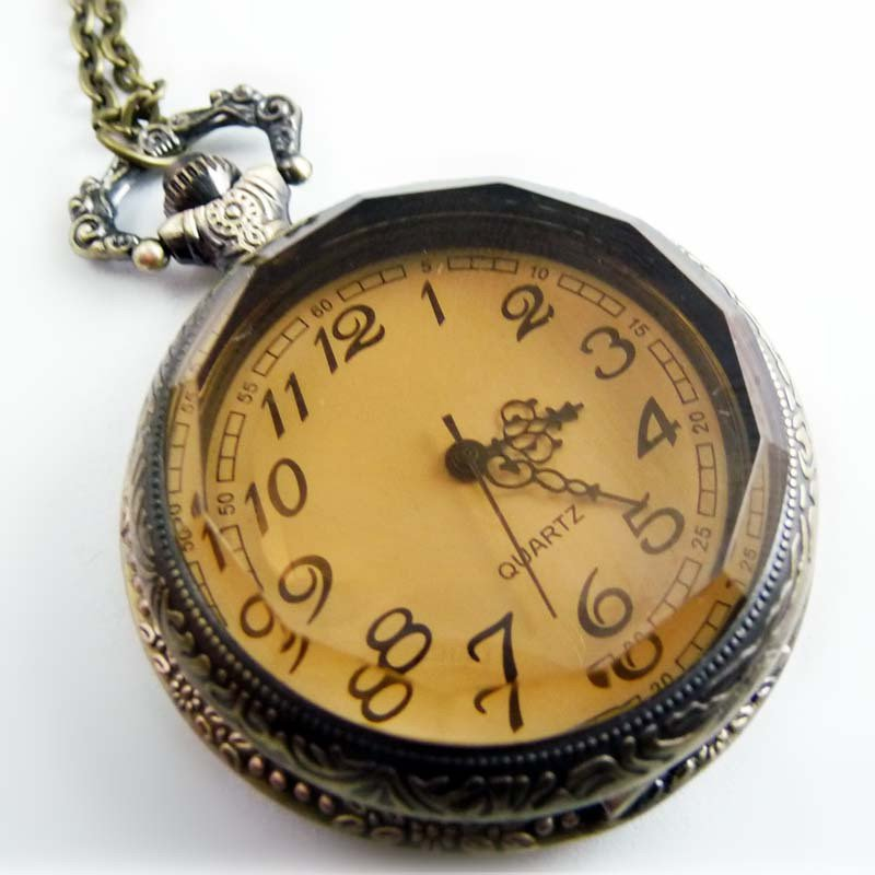 Brown mirror pocket watch necklace