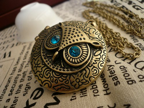 owl Round locket necklace