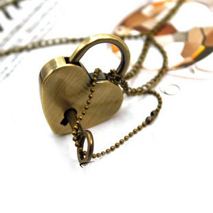 Heart-shaped lock, key necklace