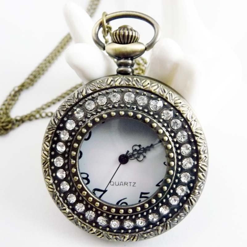 swarovski crystals Pocket watch Necklace