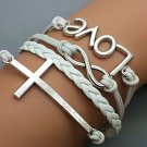Silver Cross& Love And Infinity Wish Bracelet White Wax Cords White Braided