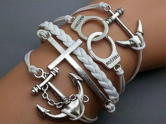 Anchor-Cross - Love -Handcuff -Anchor Bracelet-Silver Charm Bracelet