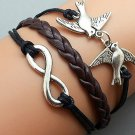 Silver Birds & Infinity wish Bracelet ,Black Ropes Dark Brown Braided Bracelet