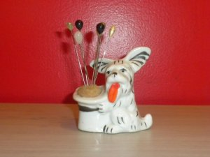 Vintage Scotty Dog and Top Hat Pin Cushion w/ Hat Pins