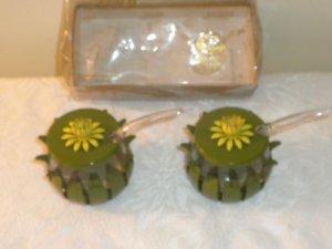Vintage Olive Green/Flower Metal Condiment Set