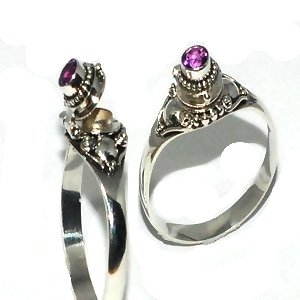 Sterling Silver thin Poison Ring with Genuine Amethyst Gemstone