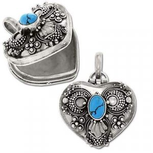 Sterling Silver Hand-Made Heart Shape Prayer Box or Urn Pendant w\Turquoise