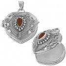 Sterling Silver Heart Prayer Box or Urn Pendant with Carnelian Pendant