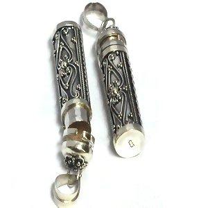 Sterling Silver Bali Cylinder shape Prayer Box or Urn Pendant