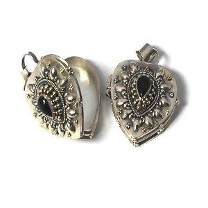 Sterling Silver Hand-Made Heart Shape Black Onyx Prayer Box or Urn Pendant