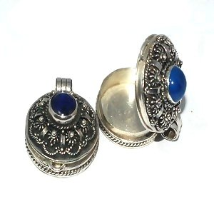 Sterling Silver Bali Round Prayer Box or Urn Pendant with Blue Agate