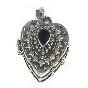 Sterling Silver Large Heart Shape Black Onyx Prayer Box or Urn Pendant