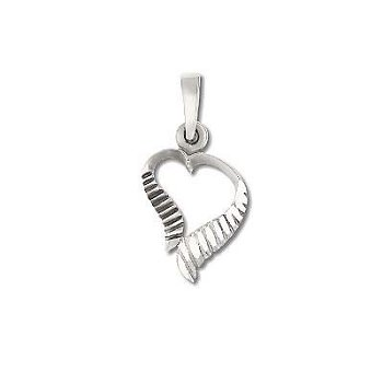 Sterling Silver Diamond Cut Grooved Heart Pendant