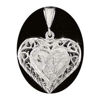 Sterling Silver Diamond Cut Filigree Puffed Heart Pendant