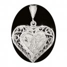 Sterling Silver Diamond Cut Filigree Puffed Heart Pendant