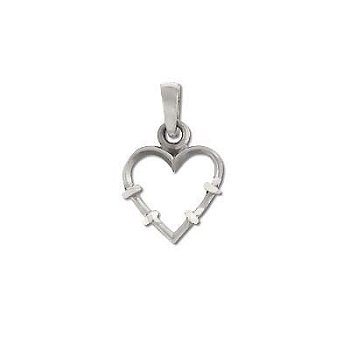 Sterling Silver Diamond Cut Heart with Thorns Pendant