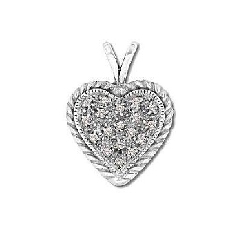Sterling Silver Pave-Look Heart Pendant