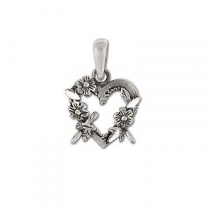 Sterling Silver Heart Flower Wreath Pendant with Loops
