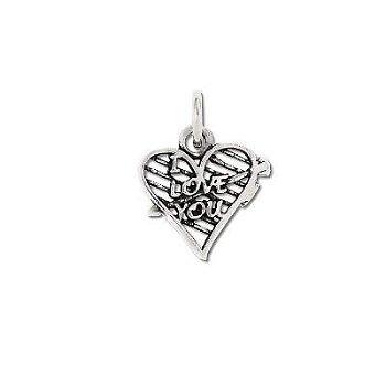 Sterling Silver I Love You Arrow Pierced Heart Pendant