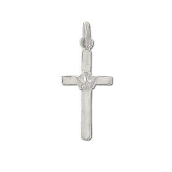Sterling Silver Descending Dove & Cross Pendant