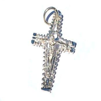 Sterling Silver Diamond Cut Crucifix Flute Cross Pendant