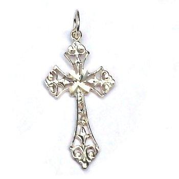 Sterling Silver Diamond Cut Filigree Cross Pendant