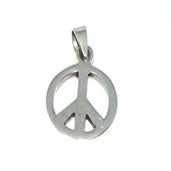 Sterling Silver 3/4 Inch Peace Sign Charm Pendant