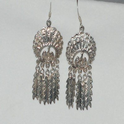 Sterling Silver Peacock with Feathers Dangle Earrings