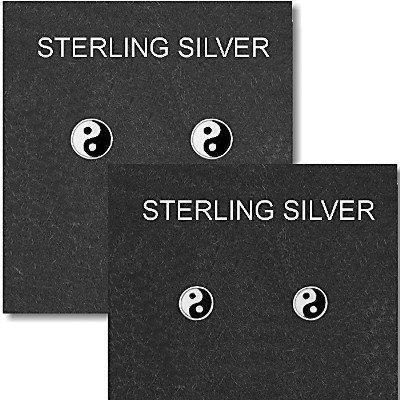Sterling Silver Yin Yang Stud Earrings