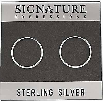 Pair of 925 Sterling Silver 20mm x 1.5mm Endless Hoop Earrings