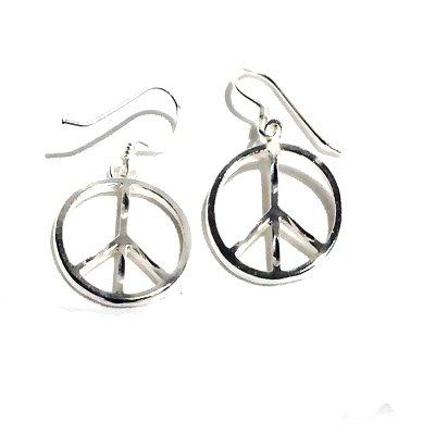 Sterling Silver Diamond Cut Peace Symbol Dangle Earrings