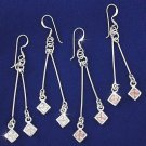 Sterling Silver Dangle Earring with 2 Cubic Zirconia Stones